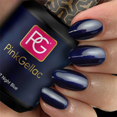 Pink Gellac 117 Night Blue swatch gel nagellak blauw
